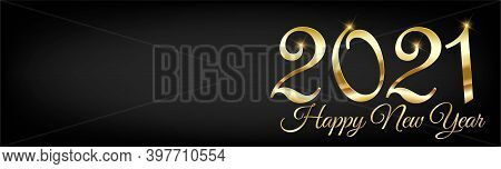 Golden 2021 New Year Banner Horizontal Vector Background - 2021 Happy New Year Winter Holiday Poster