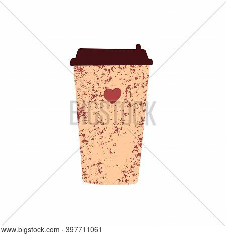 Cute Coffee Cup To Go. Hand Drawn Mug Tea, Takeaway Coffee Isolated On White Background. Beige Textu