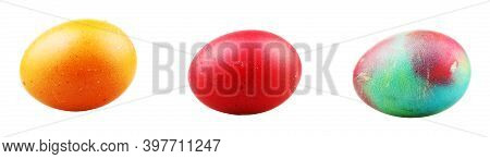 Colourful Easter Eggs On White Background. Easter Eggs, Also Called Paschal Eggs, Are Eggs That Are
