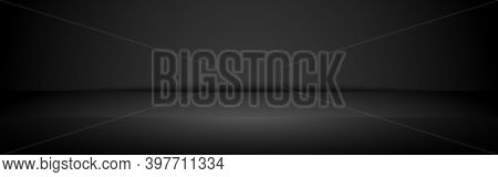Black Studio Background. Empty Studio Wall. Luxury Gradient Room For Displaying Product. Abstract Bl