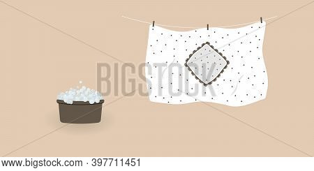 Concept Of Washing And Drying: Washed Cute White Duvet Cover With Brown Polka Dots.blanket Cover Han