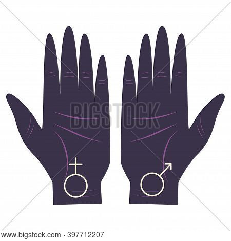 Hand Of The Philosopher, Palm With A Set Of Gender Symbols Astrologers. Variety Of Element Values. P