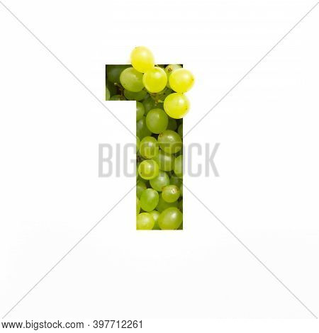 Number One Of Green Grape And Paper Cut In Shape Of First Numeral Isolated On White. Natural Typefac