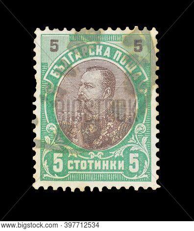 Bulgaria - Circa 1901: Cancelled Postage Stamp Printed By Bulgaria, That Shows Tsar Ferdinand, Circa