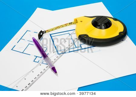 Measuring Tape And House Plan