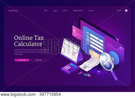 Online Tax Calculator Banner. Concept Of Income Audit, Digital Finance Analysis And Taxation Payment