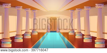 Greek Temple, Roman Architecture, Castle Corridor With Columns And Arch Entrance. Palace Hall With P