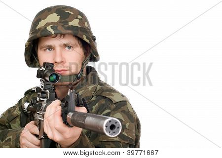Armed Soldier Pointing M16