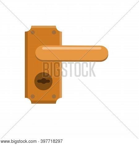 Door Handle. Doorway And Entrance Element. Brown Lock And Keyhole.