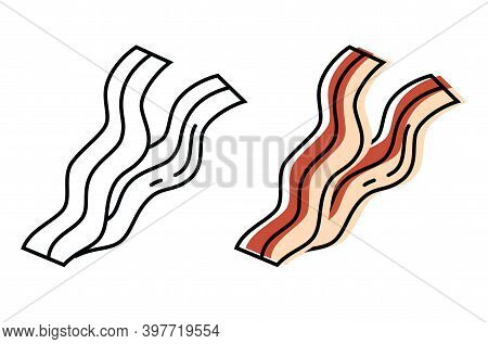 Brisket Of Natural Meat. Top Quality Farm Products. Vector Icons In Flat Style