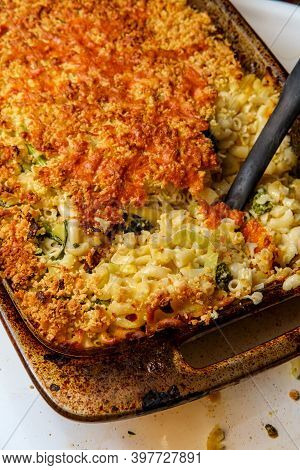Broccoli Rabe And Leek Mac And Cheese In Large Casserole Dish