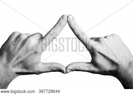 Triangle Shape Made With Fingers. Two Hands Connected Together Background. Illuminati Triangle. Fing