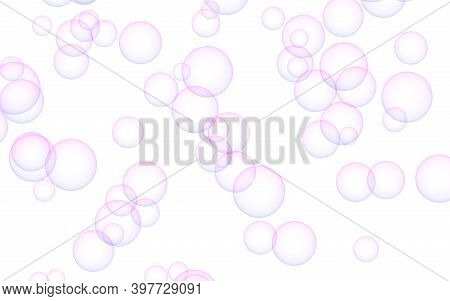 Pink Colored Background With Purple Bubbles. Wallpaper, Texture Purple Balloons. 3d Illustration