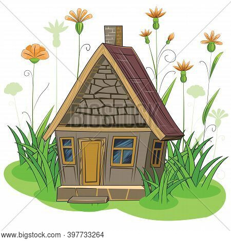 Stone Garden House. Fabulous Cartoon Object. Cute Childish Style. Ancient Dwelling. Tiny, Small. Aga
