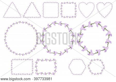 Lilac Iris Flower Wreath For Packaging Design, Wedding Invitation, Greeting Card. Spring Blossom. Ve