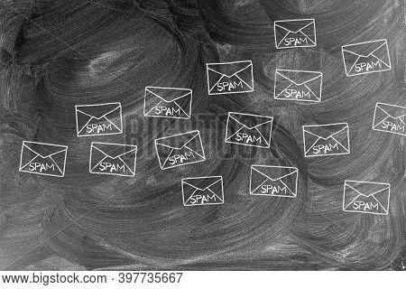 Spam. Spam Envelopes Drawn In Chalk On Chalkboard