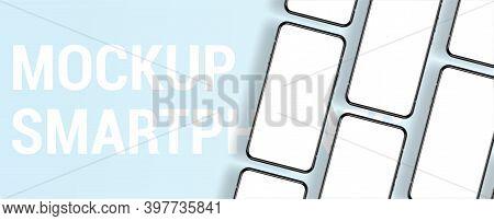 Presentation Mockup Smartphone Top View. Frameless Blank Mobile Phone, 3d Realistic Phone. Show Bann