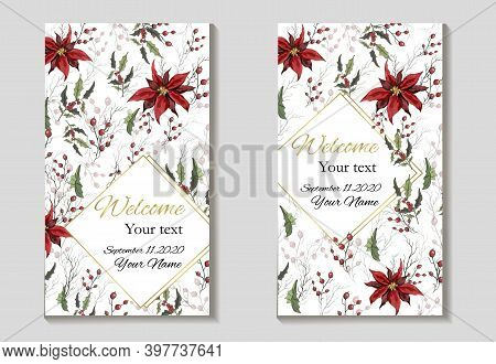 Hand-drawn Greeting Card, An Invitation Made Of Flowers Isolated On A White Background. Realistic Bo
