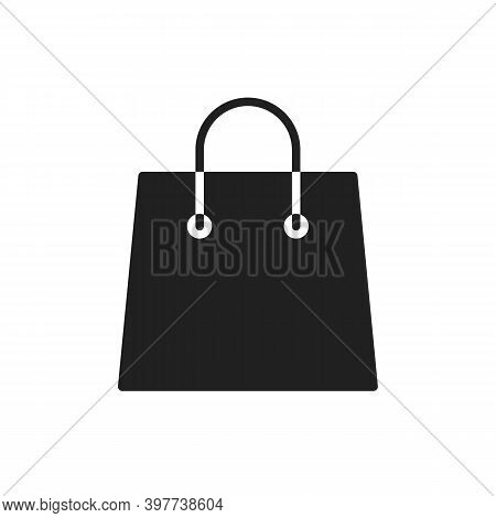 Shop Bag Icon For Flat Food Grocery Logo Isolated On White. Vector Illustration Of Black Paper Eco G