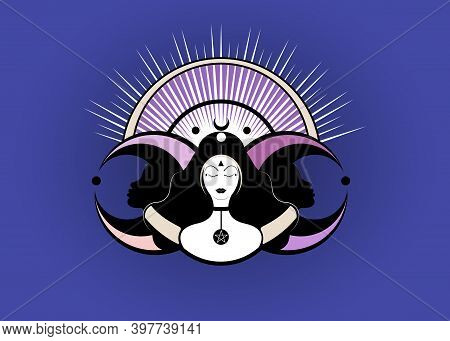 Wiccan Woman Icon, Triple Goddess Symbol Of Moon Phases. Hekate, Mythology, Wicca, Witchcraft. Tripl