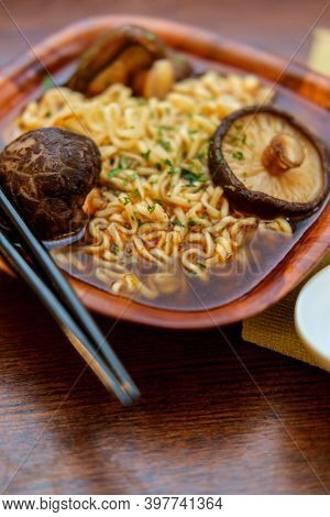 Umami Rich Shiitake Mushroom Ramen Noodle Soup