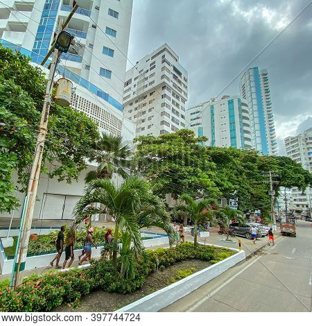 Cartagena, Columbia - November 5, 2019: A View Of The Modern Portion Of Cartagena, Colombia With Con