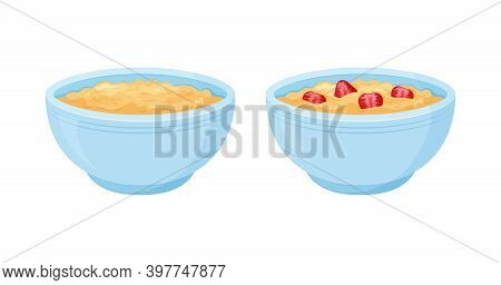 Oats Bowl Vector Icon Set. Oatmeal Sweet With Strawberry Breakfast Cup, Oat Grain Porridge. Cartoon
