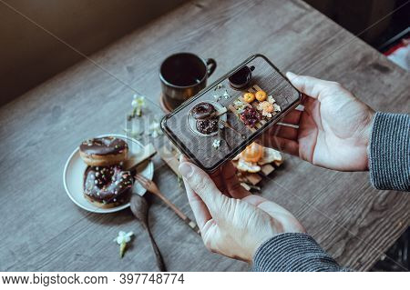 People Taking Pictures Of Breakfast With Smartphone, Close Up.