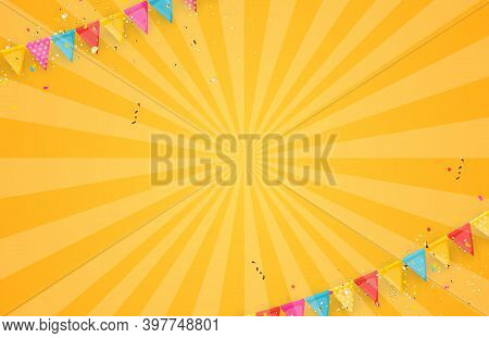 Banner With Garland Of Flags And Ribbons. Holiday Party Background For Birthday Party, Carnaval Temp