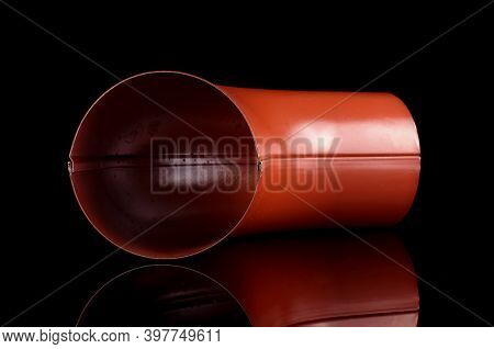 Bend Element For Rain Water Spout For Industrial Constructions Isolated On The Black Background