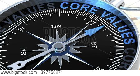 Compass Needle Pointing To Word Core Values, 3d Rendering