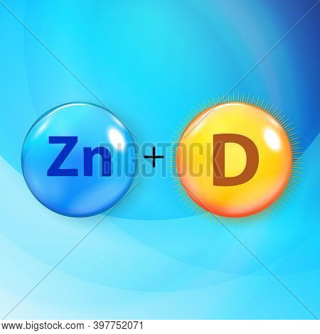 Mineral Zn Zink Blue Shiny Pill Capsule Icon Vitamin D.  Illustration