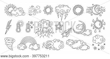 Weather Doodle Set Forecast Black Linear Moon