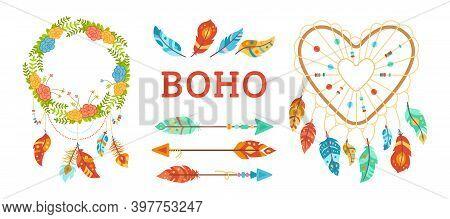 Boho Style Design Elements Set Dreamcatcher Arrow