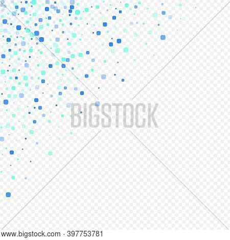 Turquoise Particle Abstract Vector Transparent Background. Effect Confetti Invitation. Flying Cell B