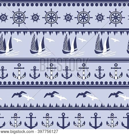 Cute Marine Pattern, Nautical Seamless Pattern, Anchors, Boat, Steering Wheel Stripe Background