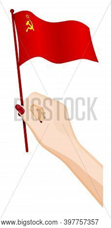 Female Hand Gently Holds Small Soviet Union Flag, Ussr. Holiday Design Element. Cartoon Vector On Wh