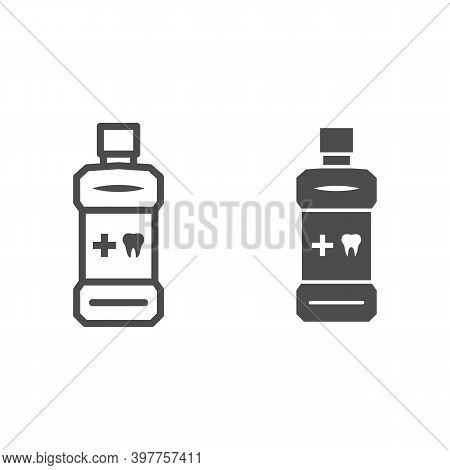 Mouthwash Line And Solid Icon, International Dentist Day Concept, Oral Antibacterial Liquid Sign On