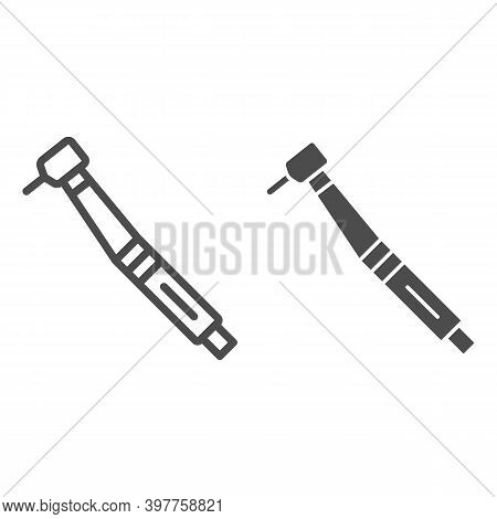 Dental Drill Line And Solid Icon, International Dentist Day Concept, Stomatological Instrument Sign