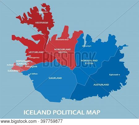 Iceland Political Map Divide By State Colorful Outline Simplicity Style. Vector Illustration.