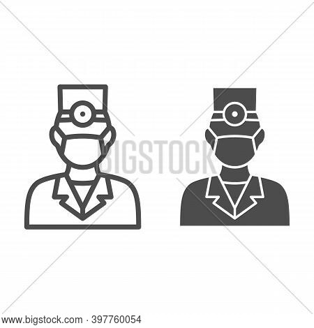 Dentist Line And Solid Icon, International Dentist Day Concept, Doctor In Face Mask Sign On White Ba