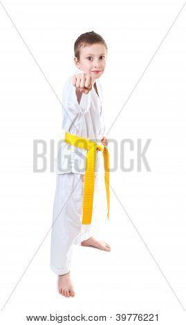 Boy Wearing Tae Kwon Do Uniform