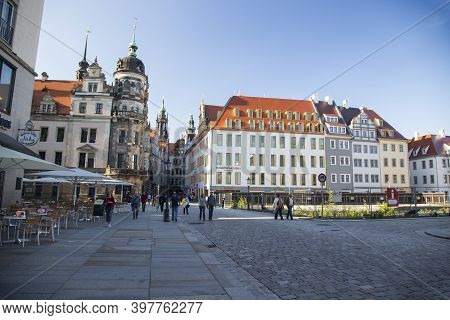 Dresden, Germany - June 05, 2013: Detail Of The Old Market Square In Dresden, Germany