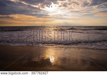 Beautiful Seascape View With Blue Cloudy Sky, Tropical Beach With Cloudy Sky, Nature Photography, Be