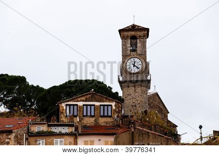 Bell Tower and Clock of Notre Dame clock Church in Cannes France poster