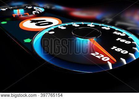 3d Illustration Close Up Black Car Panel, Digital Bright Speedometer In Sport Style. The Speedometer