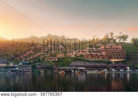 Ban Rak Thai Village Is A Chinese Settlement With Lake During Sunset In Mae Hong Son Province Near C