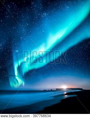 Multicoloured Green, Blue Vibrant Aurora Borealis Polaris, Northern Lights In Night Sky. Galaxy Sky.