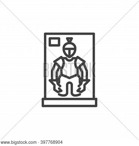 Museum Knight Armour Line Icon. Linear Style Sign For Mobile Concept And Web Design. Medieval Warrio