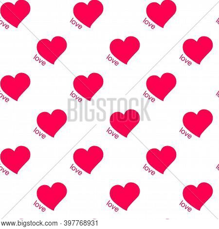 Vector Seamless Pattern Of Hearts And Words Amore. Hearts Are Symbols Of Love Painted With Bright Re